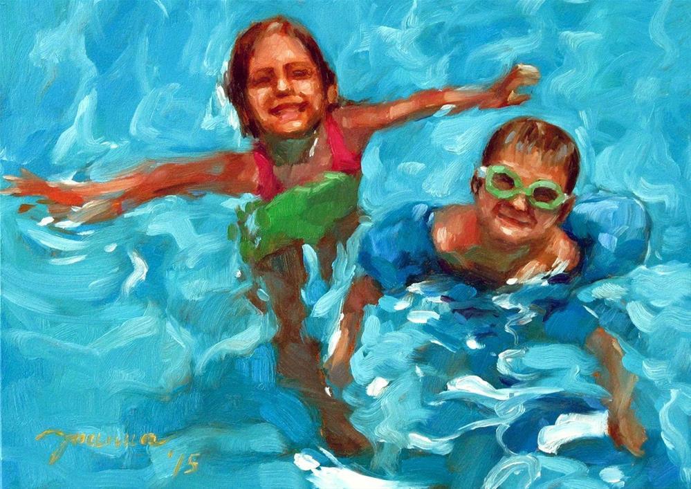 """Aqua Kids--The Summer Challenge"" original fine art by Joanna Bingham"