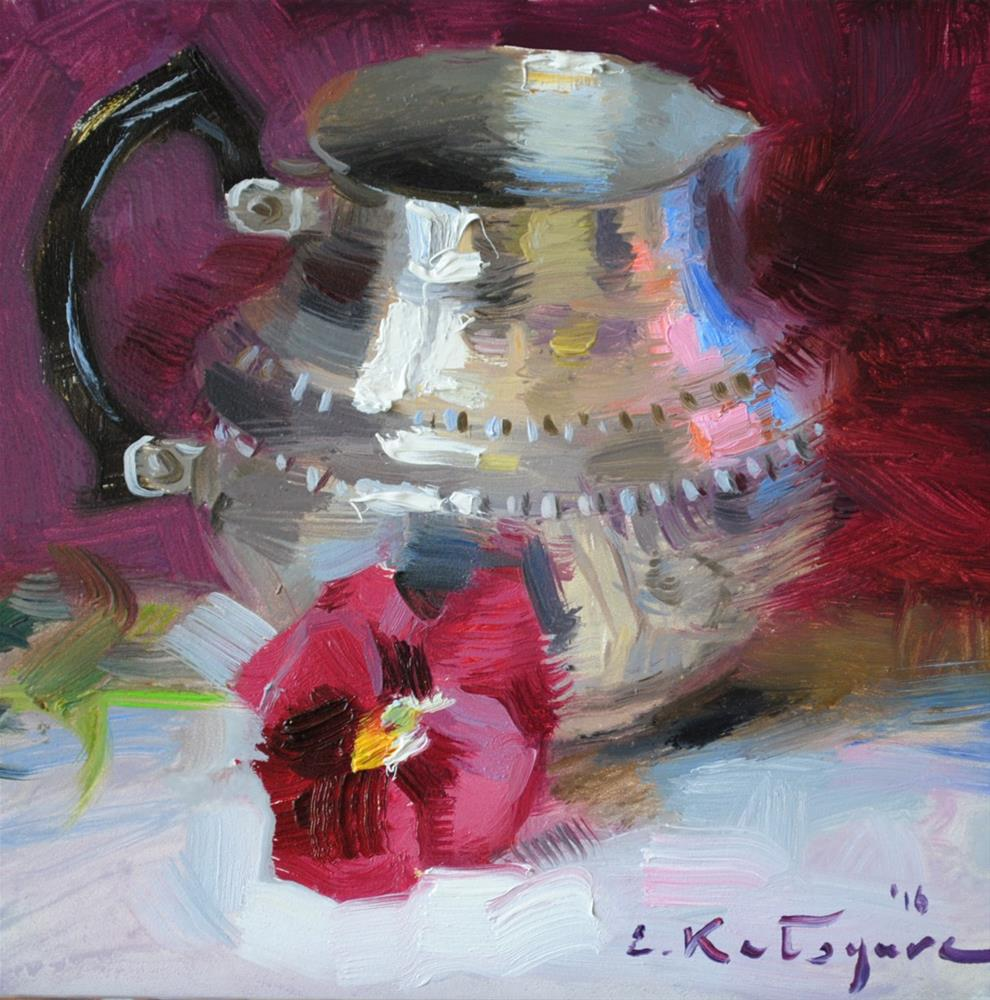 """Creamer and Pansy"" original fine art by Elena Katsyura"