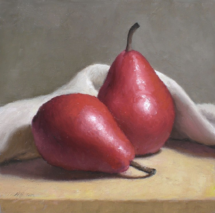 """Red Pears"" original fine art by Debra Becks Cooper"