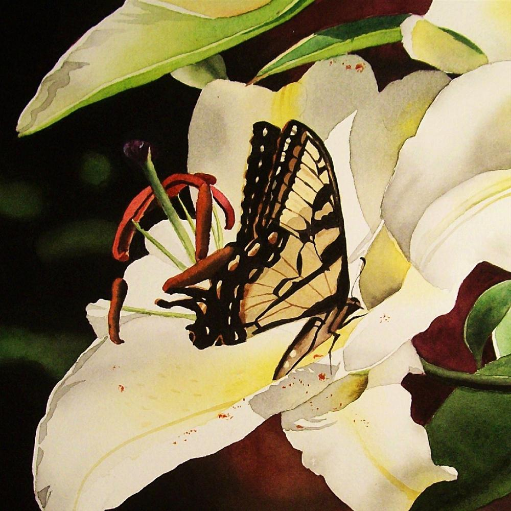 """""""Butterfly with Oriental Lily"""" original fine art by Jacqueline Gnott, TWSA, WHS"""