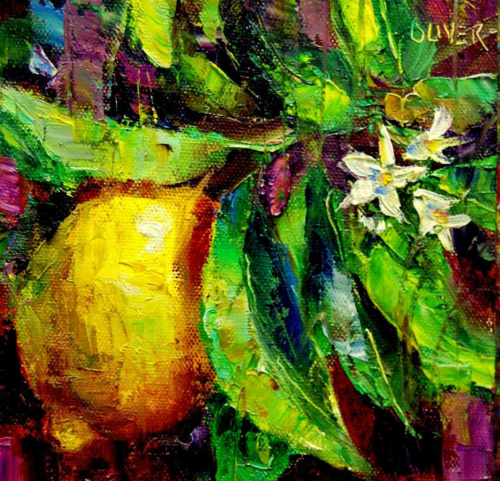 """Lemon & Leaves"" original fine art by Julie Ford Oliver"