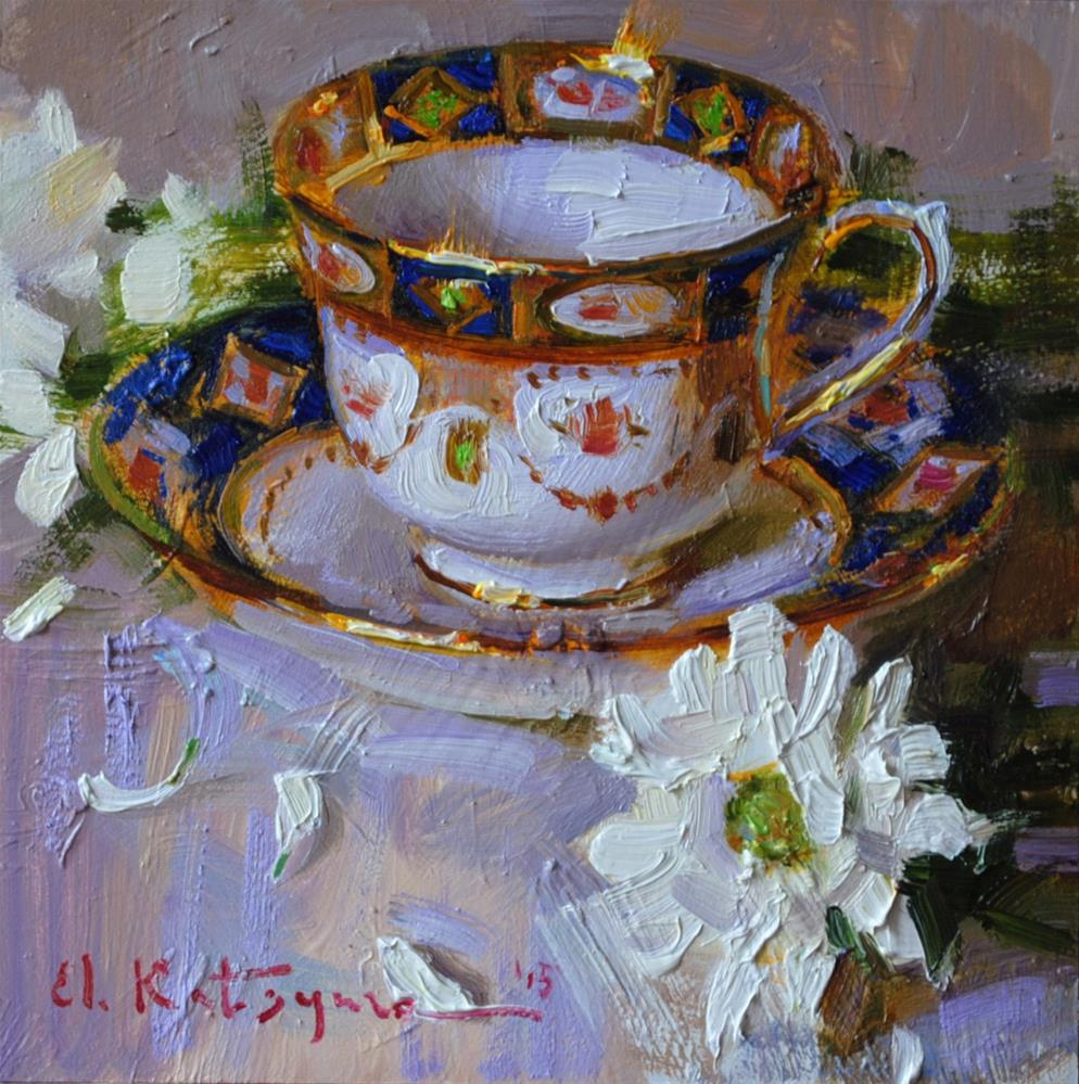 """Teacup and Chrysanthemums"" original fine art by Elena Katsyura"