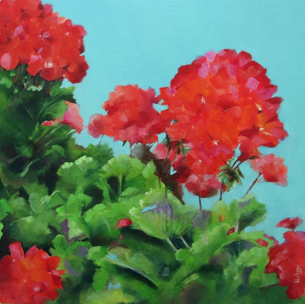"""""""Red Geraniums"""" original fine art by Cathy Holtom"""