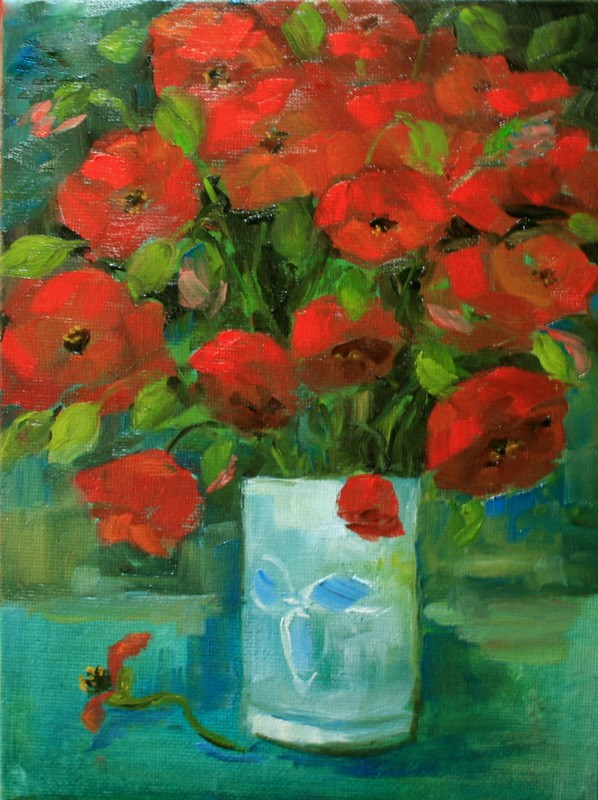 """Red Poppies in Vase"" original fine art by Jean Nelson"