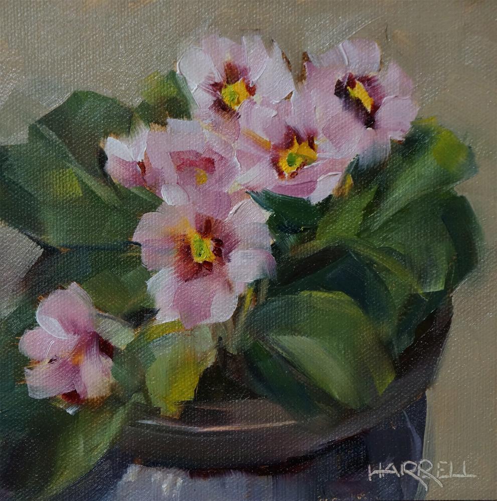 """Pink Primrose"" original fine art by Sue Harrell"