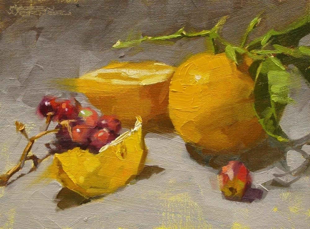 """Cut Lemon & Grapes"" original fine art by Karen Werner"