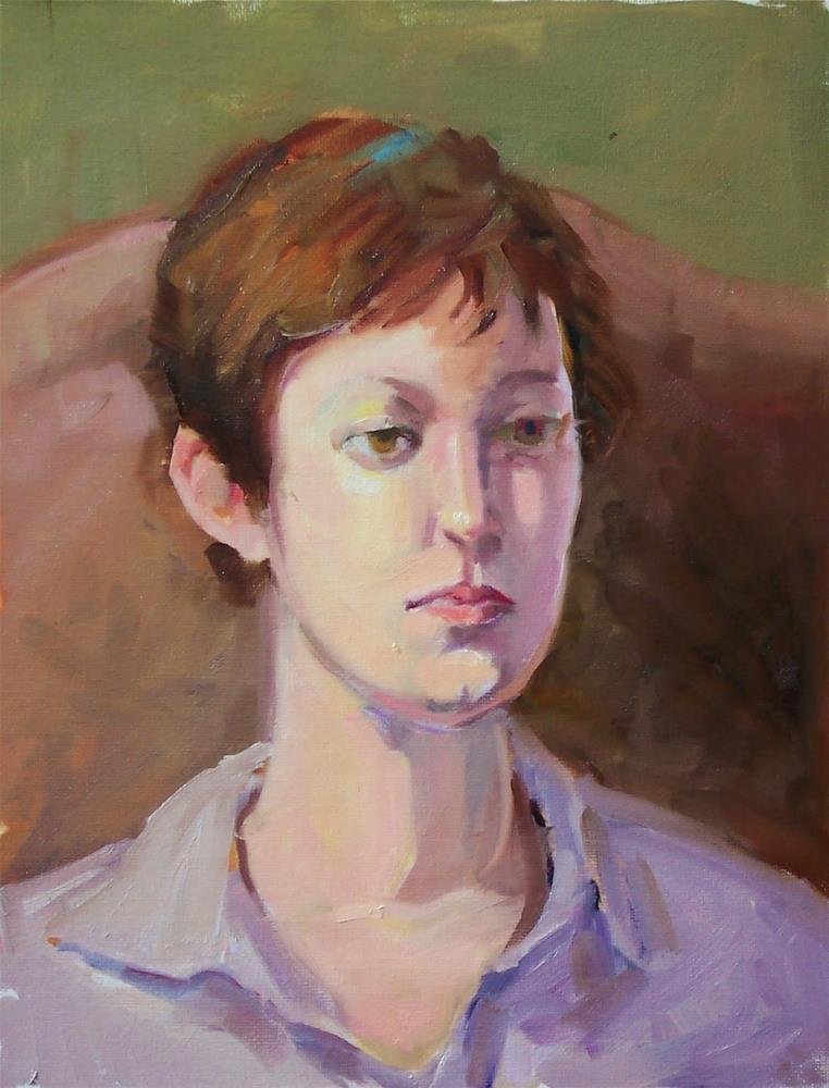 """Model Sharon,portrait,oil on canvasboard,16x12,priceNFS"" original fine art by Joy Olney"