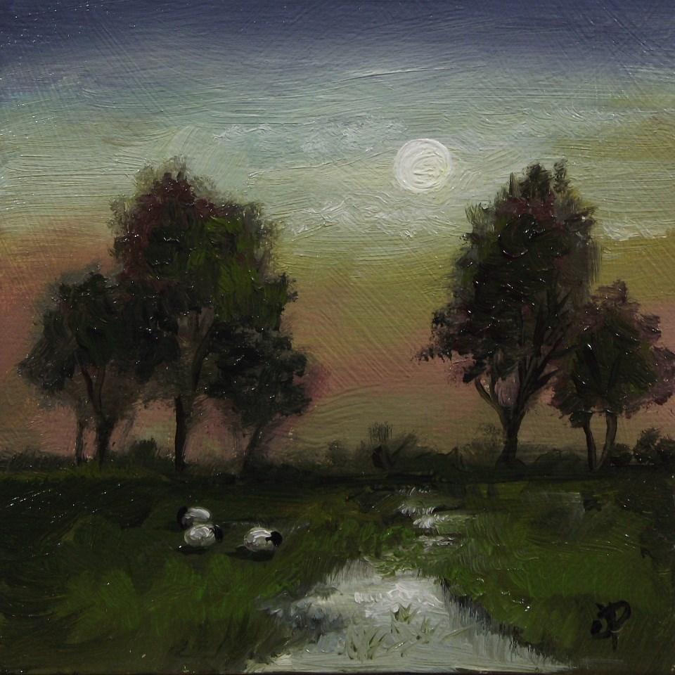 """Moonlight sheep"" original fine art by Jane Palmer"