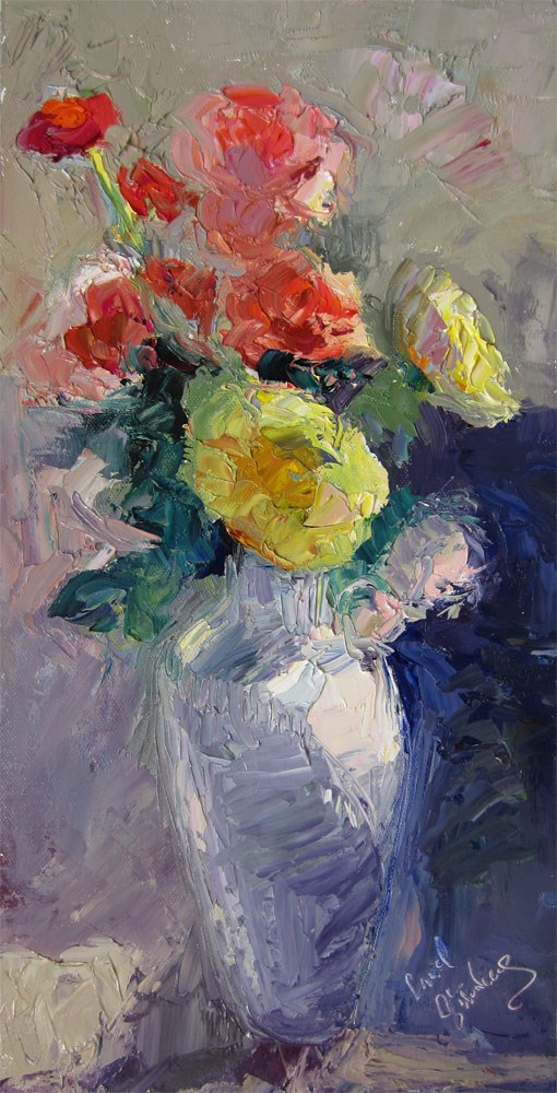 """Asian Vase, Roses, Noon"" original fine art by Carol Steinberg"