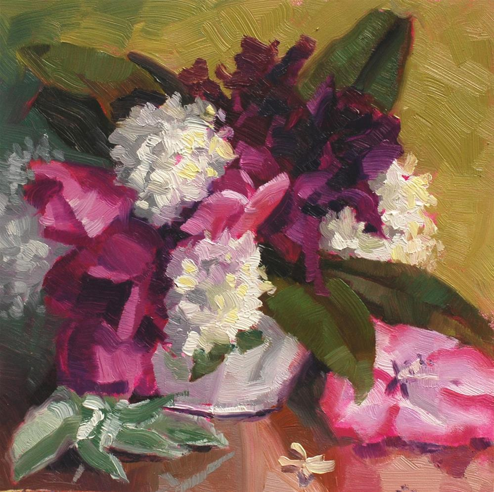 """Teacup Bouquet 2"" original fine art by Susan McManamen"