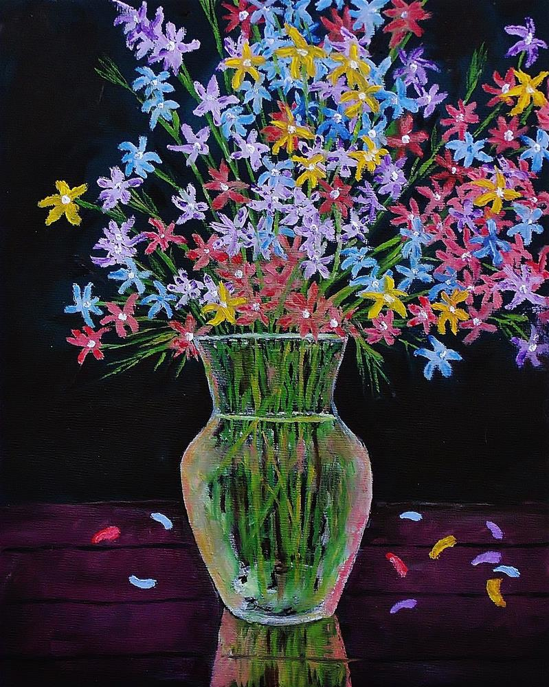 """Glass Water Vase with Flowers"" original fine art by Mike Caitham"