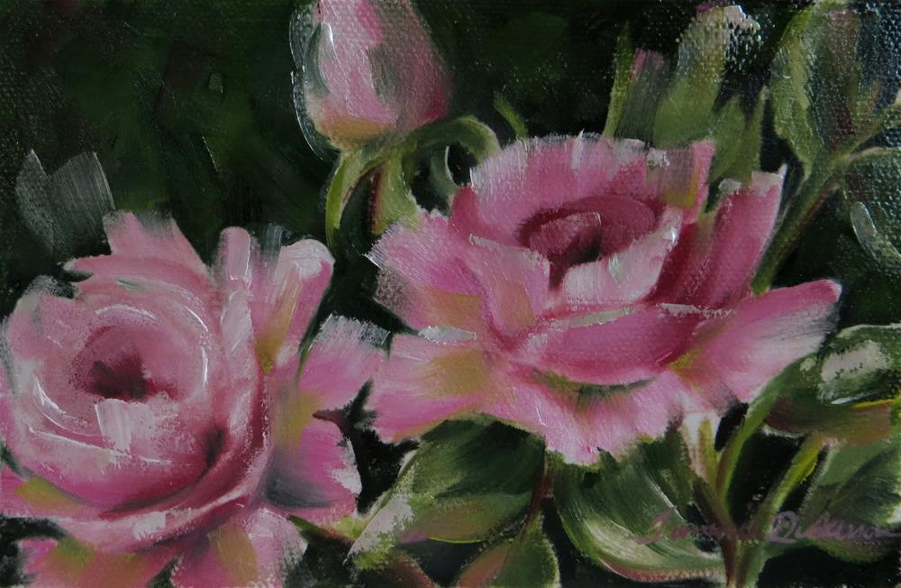 """Pink Rose Trio"" original fine art by Tammie Dickerson"