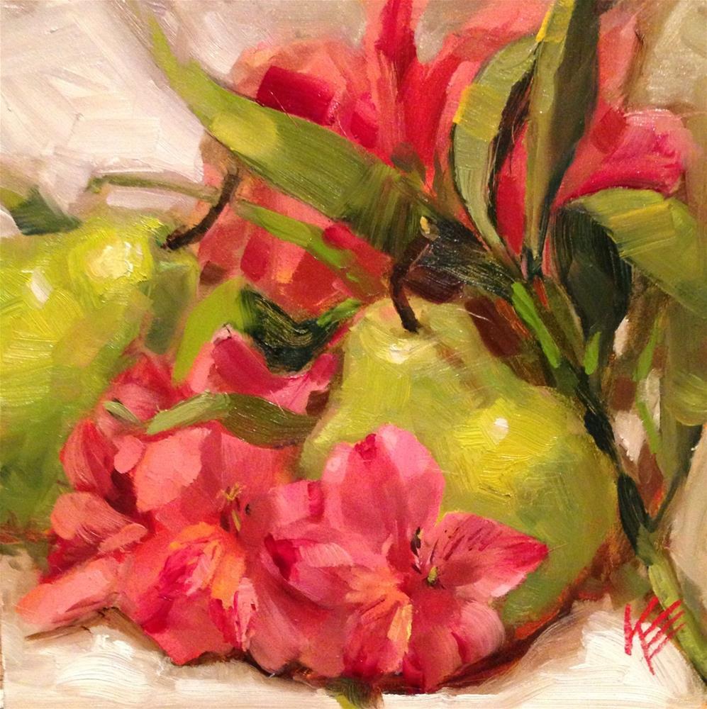 """Pears & Astros"" original fine art by Krista Eaton"