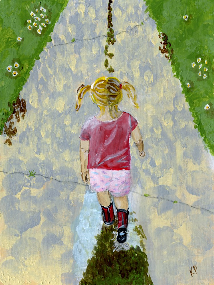 """Pigtails and Puddles 2"" original fine art by Kali Parsons"