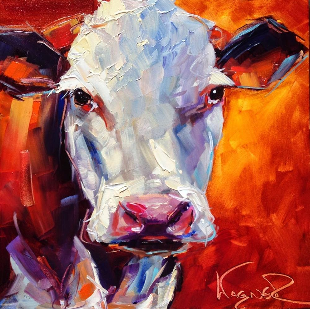"""CONTEMPORARY COW PAINTING in OILS by OLGA WAGNER"" original fine art by Olga Wagner"