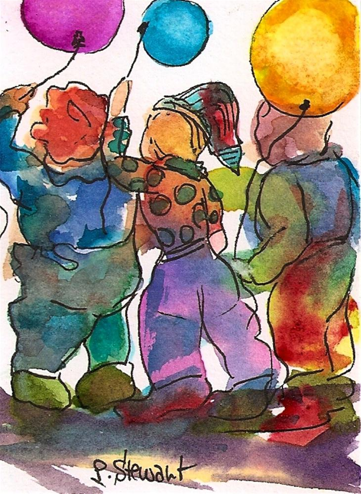 """ACEO 3 Kids with Balloons"" original fine art by Penny Lee StewArt"