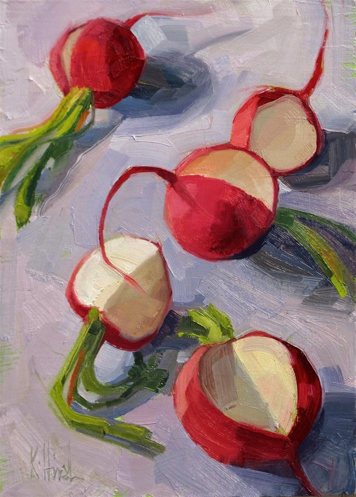 """Radishes for E"" original fine art by kathy hirsh"