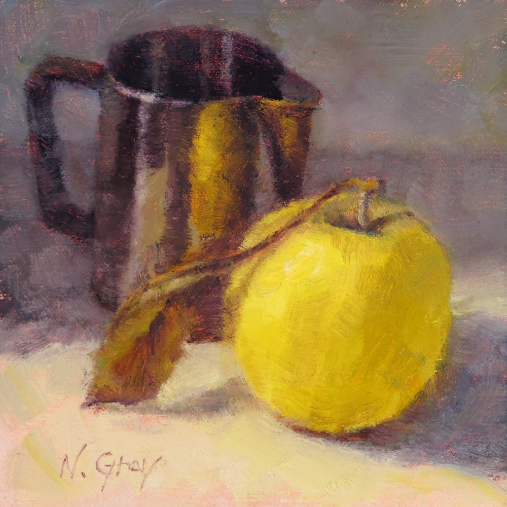 """Yellow Apple & Silver Cup"" original fine art by Naomi Gray"