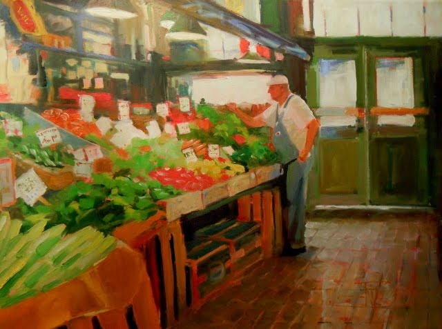 """Picked Fresh  produce vendor at Pikes Place Market, Seattle, Wa."" original fine art by Robin Weiss"
