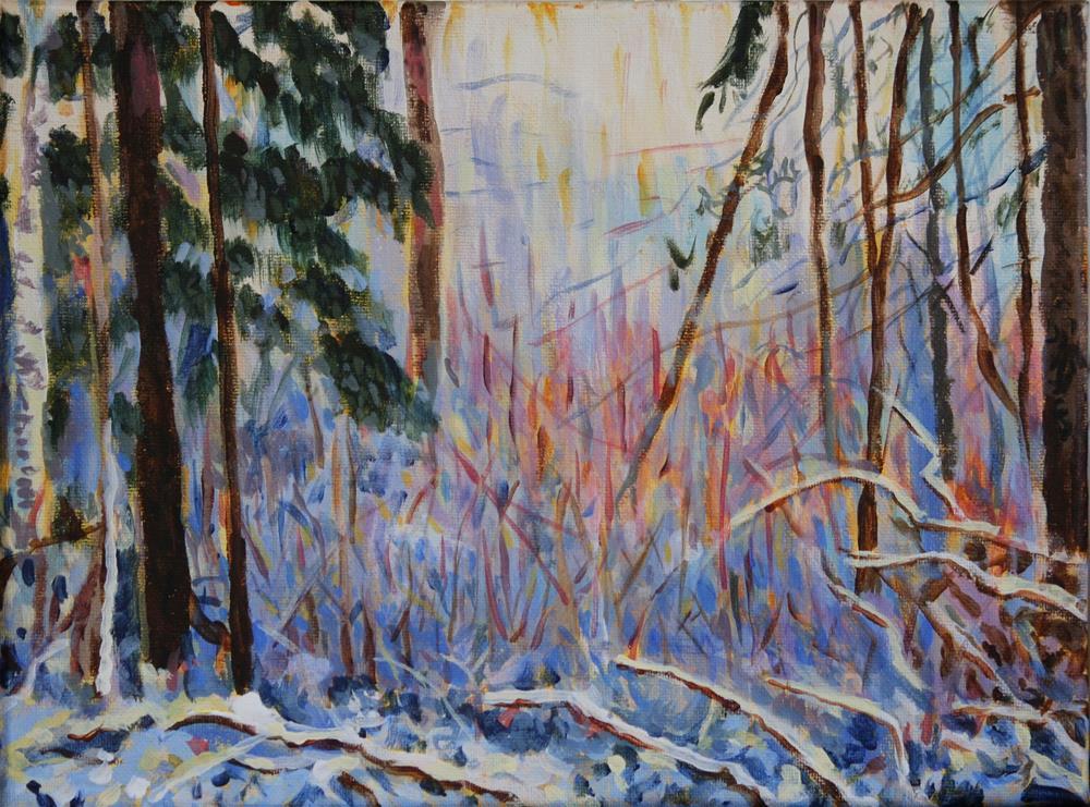 """Riverside Park in Winter"" original fine art by Terri-Anne Barge"