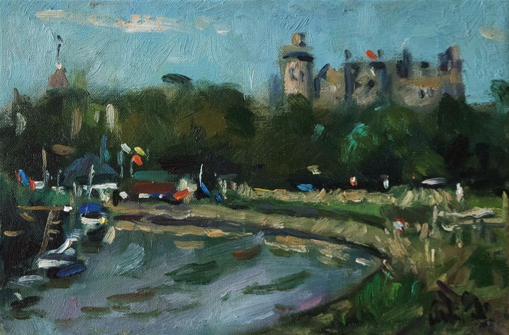 """Arundel Castle with the River"" original fine art by Andre Pallat"