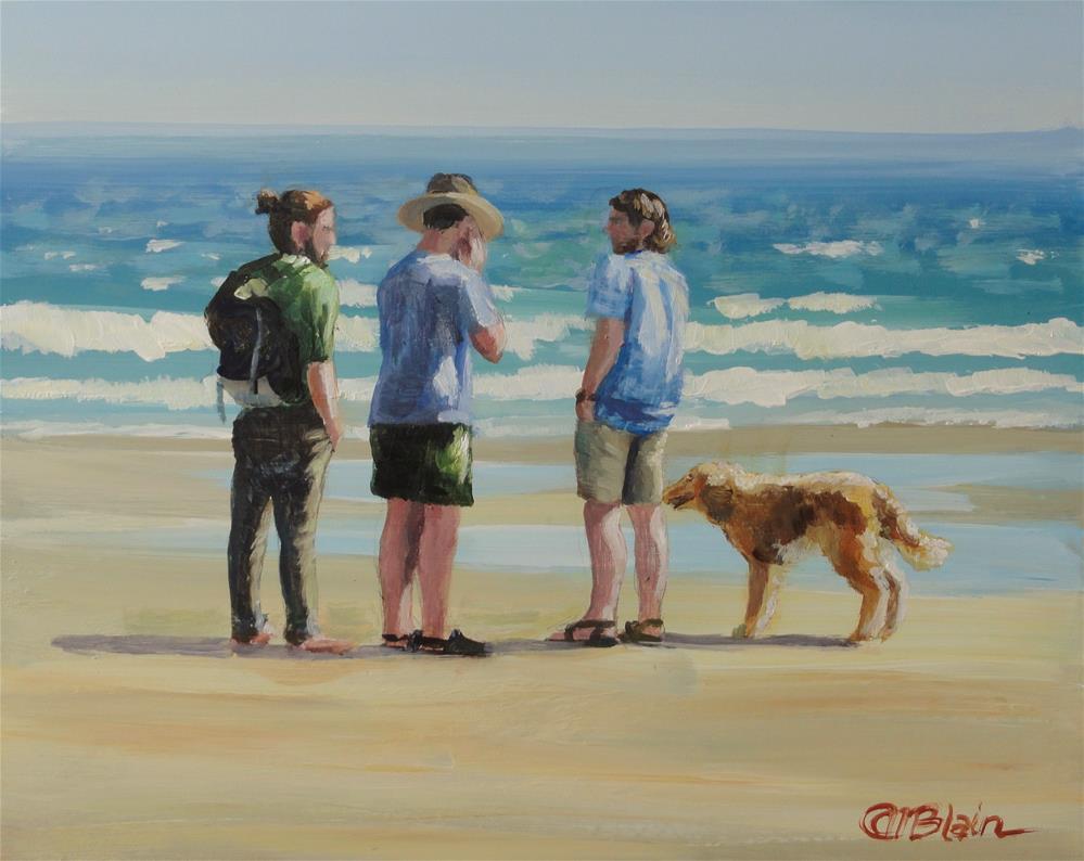 """Dogs on the Beach #4"" original fine art by Christine Blain"