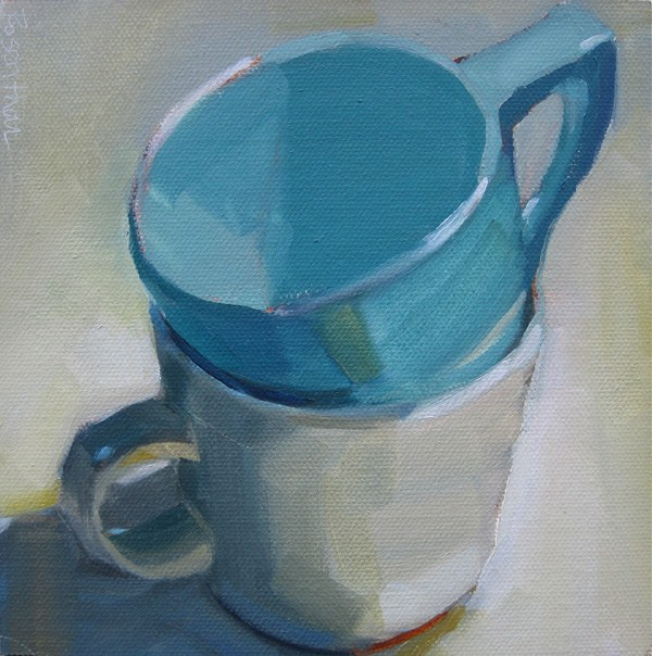 """Two Stacked Cups"" original fine art by Robin Rosenthal"