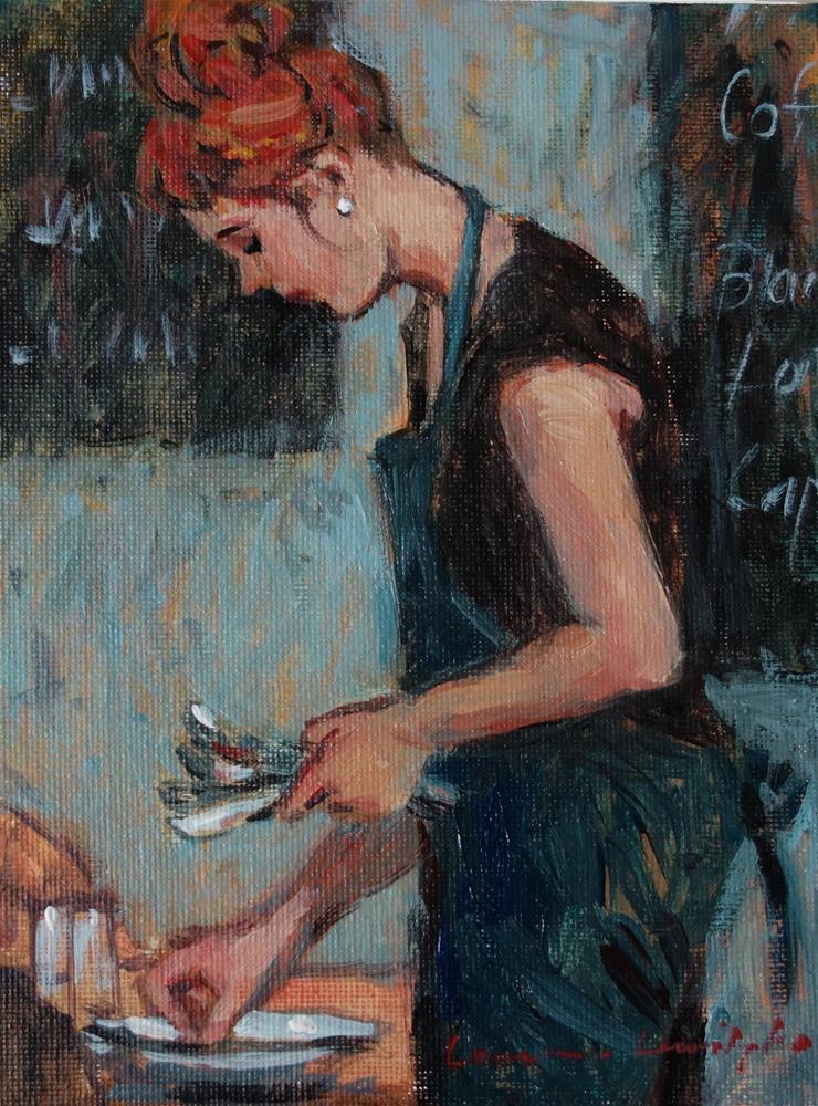 """""""Coffee Girl Setting Tables"""" original fine art by Lorraine Lewitzka"""