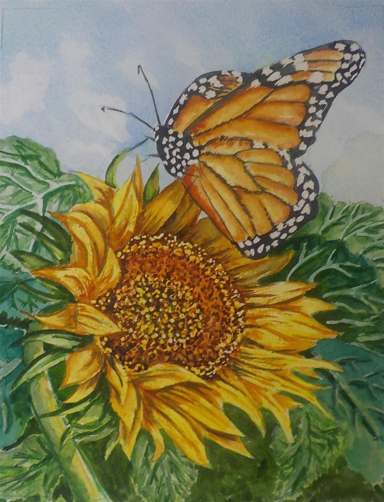 """Sunflower Butterfly #247"" original fine art by Jim Whiteside"