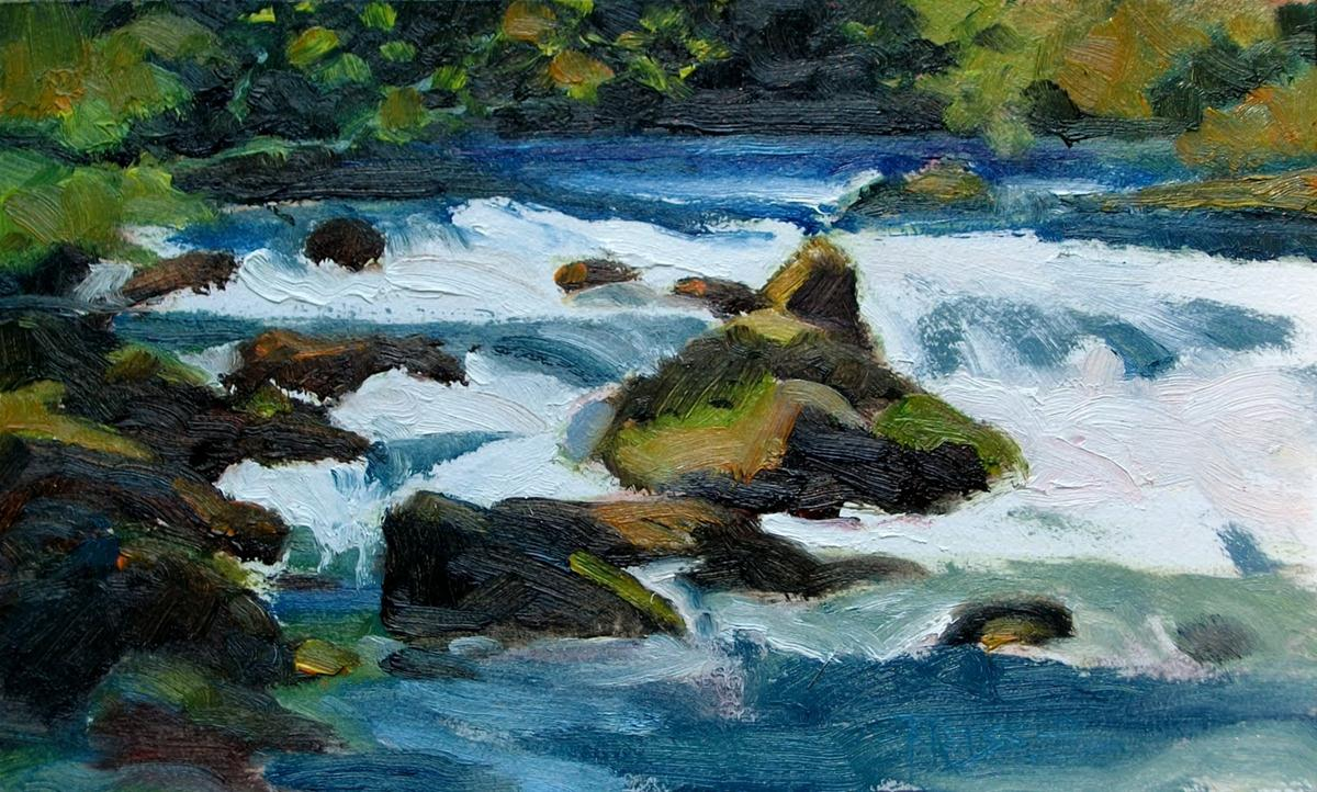 """Big Quilcene River at Falls View Canyon, plein air painting"" original fine art by Robin Weiss"