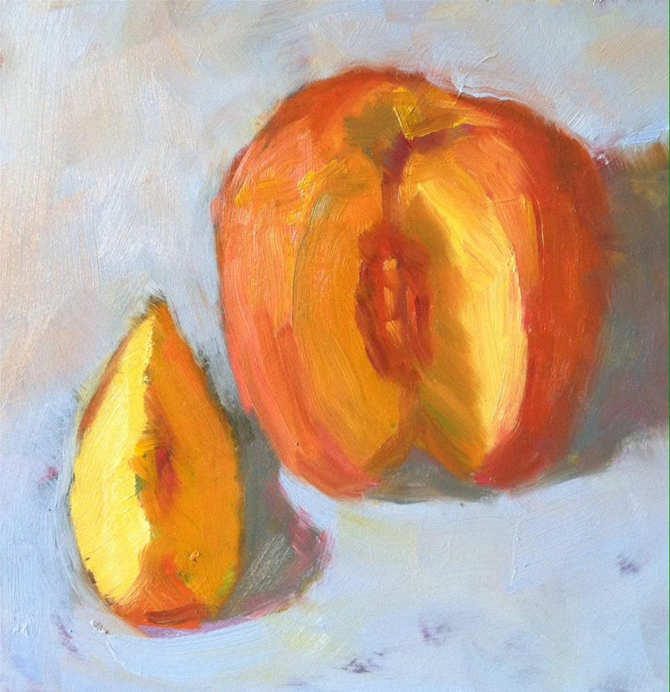 """Sliced Peach"" original fine art by Katharine March"