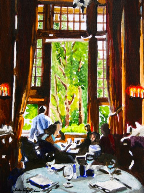 """Lunch at the Ahwahnee"" original fine art by JoAnne Perez Robinson"