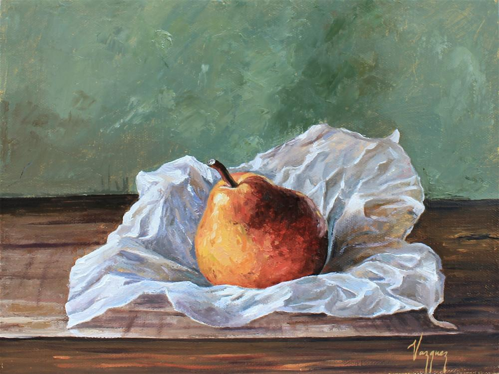 """Still life with pear"" original fine art by Marco Vazquez"