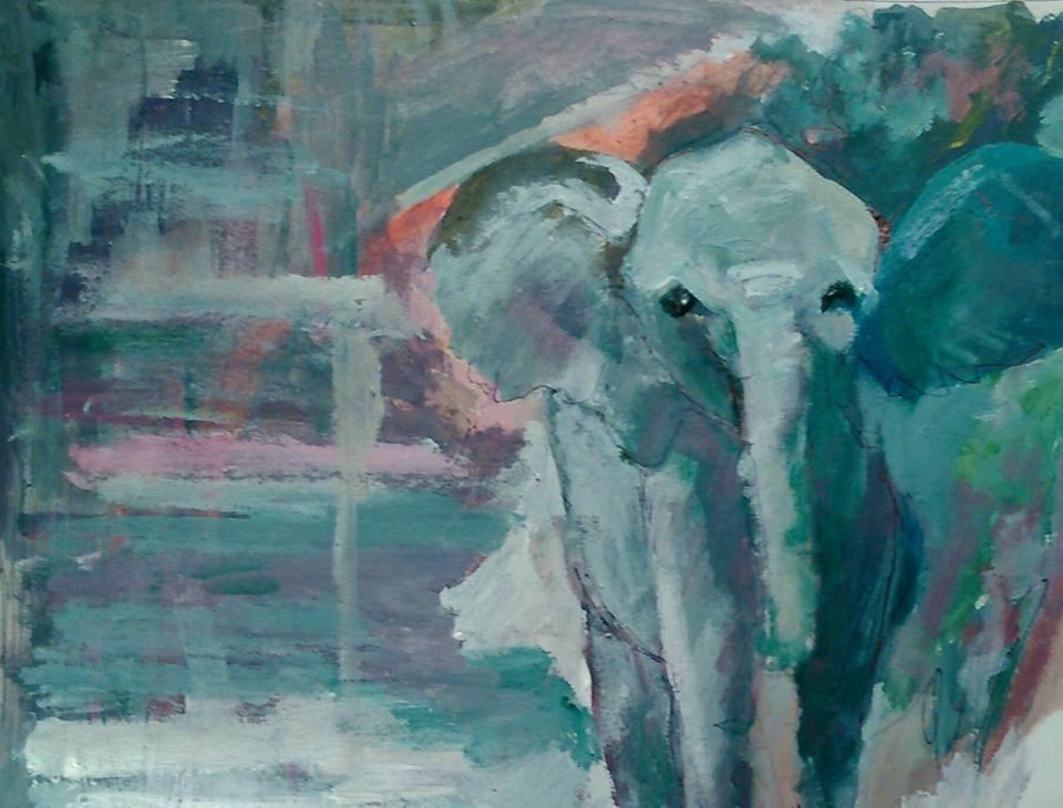 """Elephant"" original fine art by Ann Rudd"