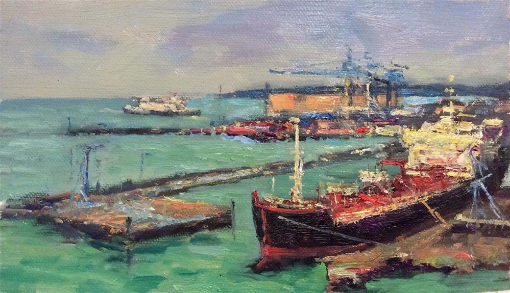 """Helsingborg Port"" original fine art by John Shave"