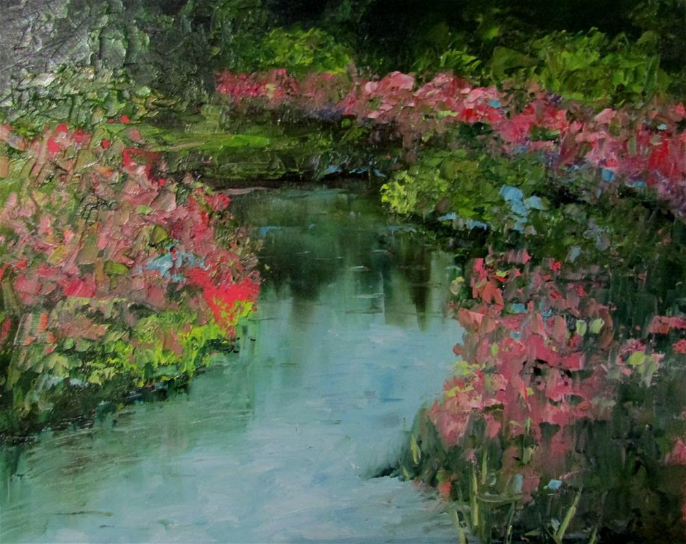 """8 x 10 inch oil River Flowers"" original fine art by Linda Yurgensen"