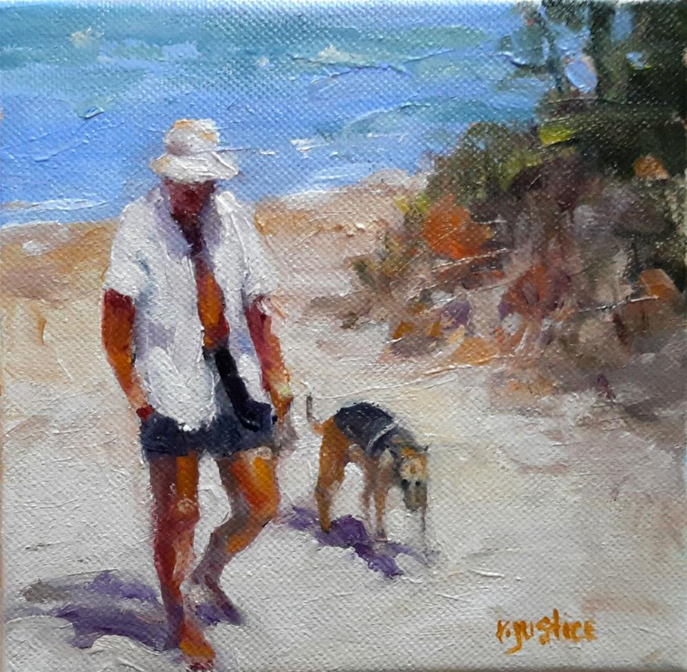 """Man and Dog on Beach"" original fine art by Rebecca Justice-Schaab"