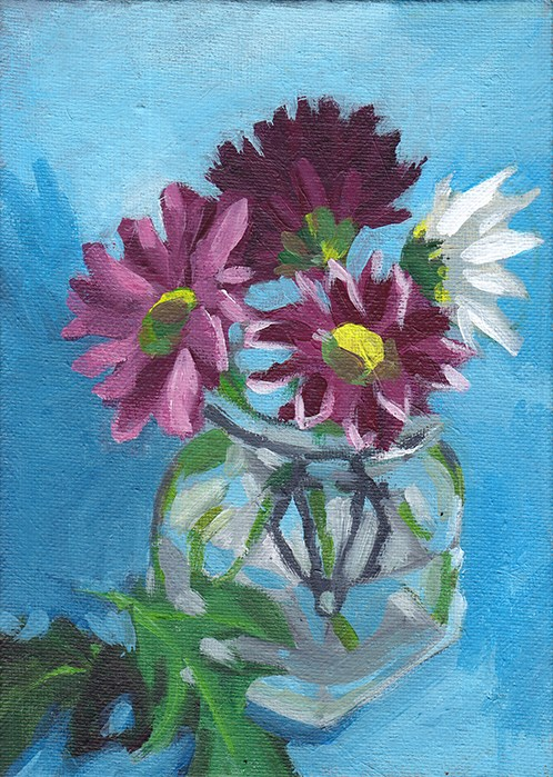 """Chrysanthemums in Glass Jar"" original fine art by J M Needham"