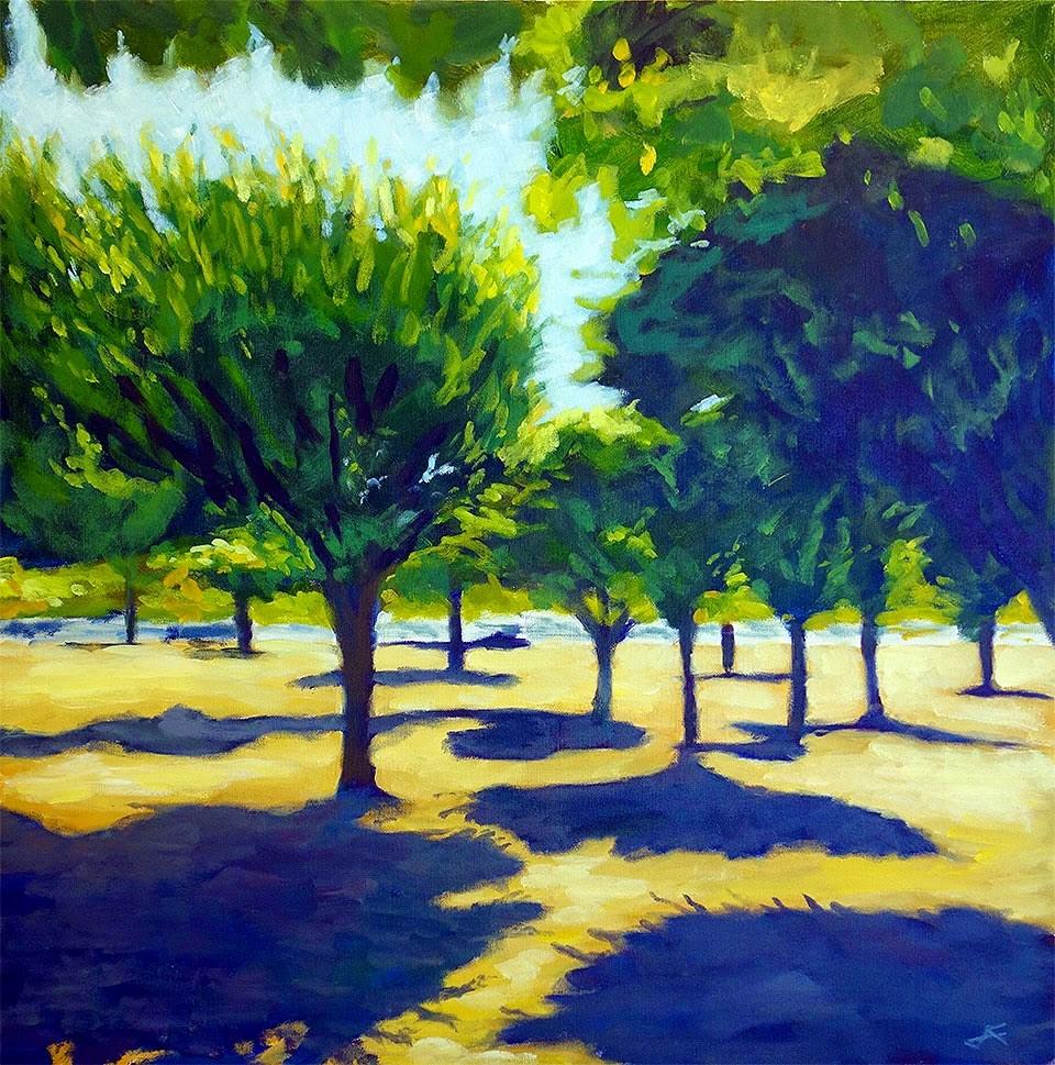 """Concourse Trees"" original fine art by J. Farnsworth"