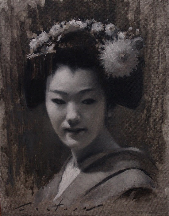 """Maiko Tomitae Tonal Study"" original fine art by Phil Couture"