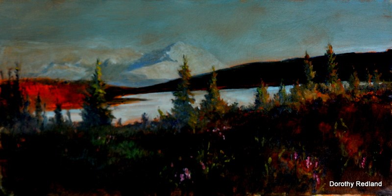 """Wonder lake  Mt Denali"" original fine art by Dorothy Redland"