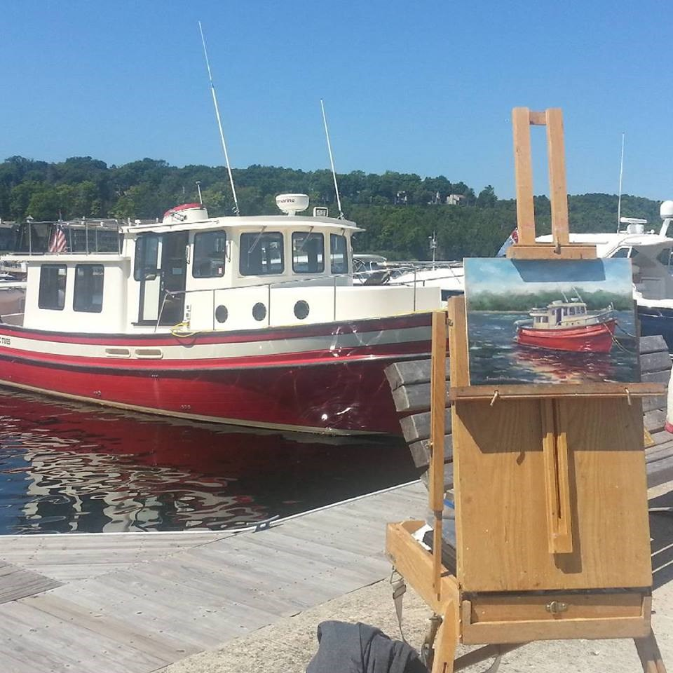 """A Tug at Sister Bay"" original fine art by Tammie Dickerson"