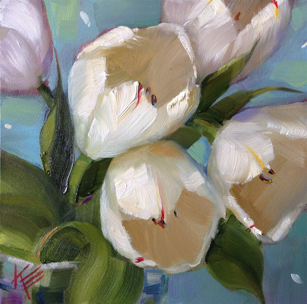 """White on Blues"" original fine art by Krista Eaton"