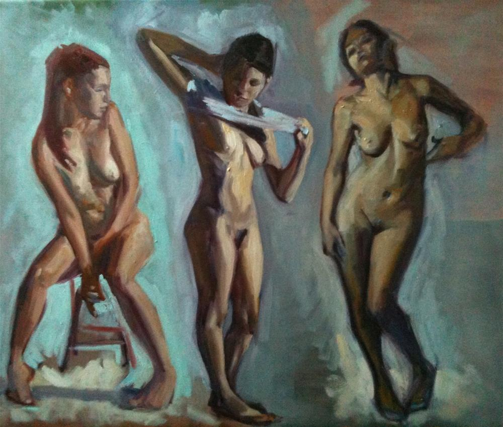 """Study of Three Figures"" original fine art by Megan Schembre"