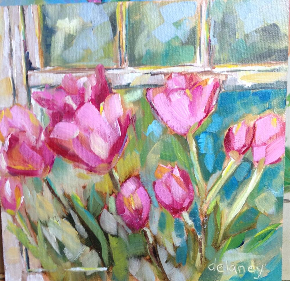 """Flowers in the window"" original fine art by Jean Delaney"