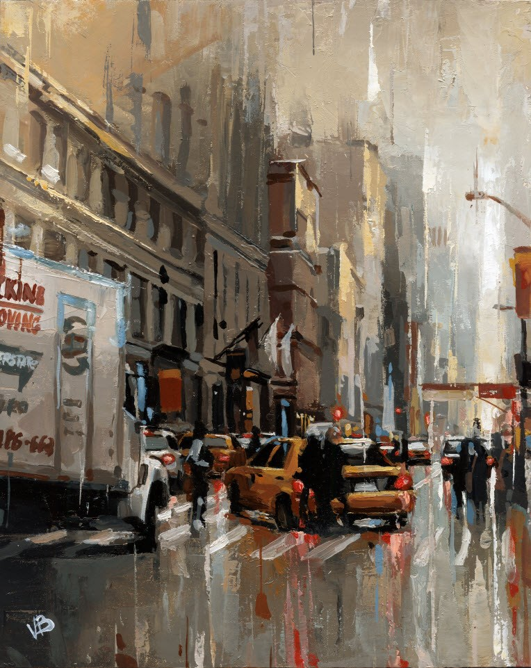"""Moving Truck - 4"" original fine art by Victor Bauer"