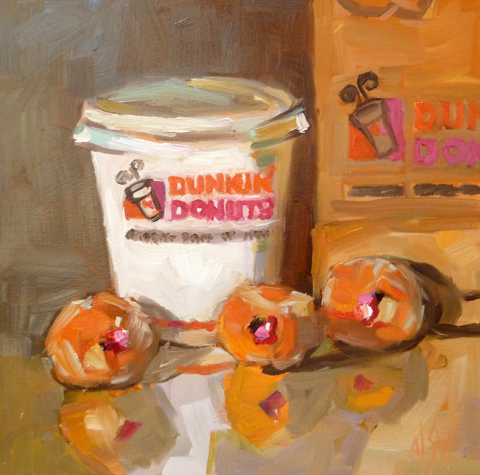 """Munchkins 6x6 oil on gessoboard"" original fine art by Mary Sheehan Winn"