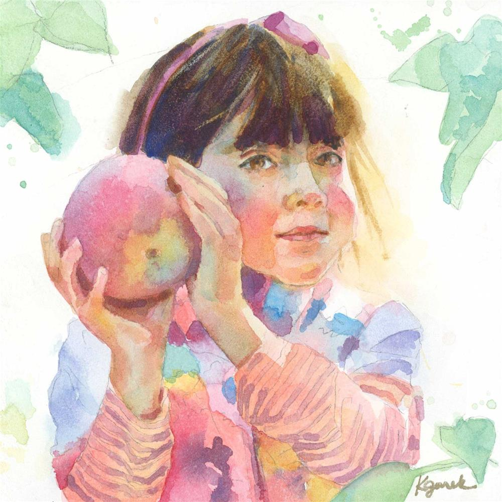 """""""Apple of Their Eye"""" original fine art by Kathy Jurek"""