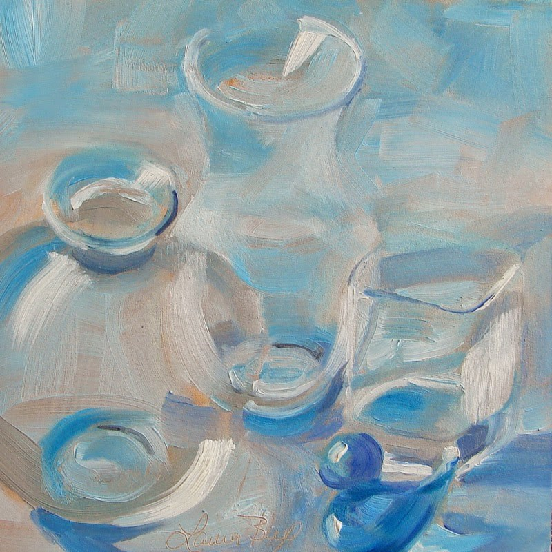 """Glass on Blue 189"" original fine art by Laura  Buxo"