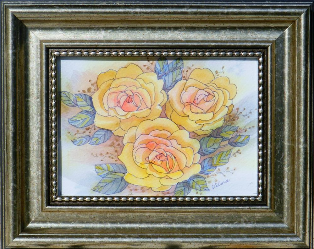 """Yellow Roses"" original fine art by Velma Davies"